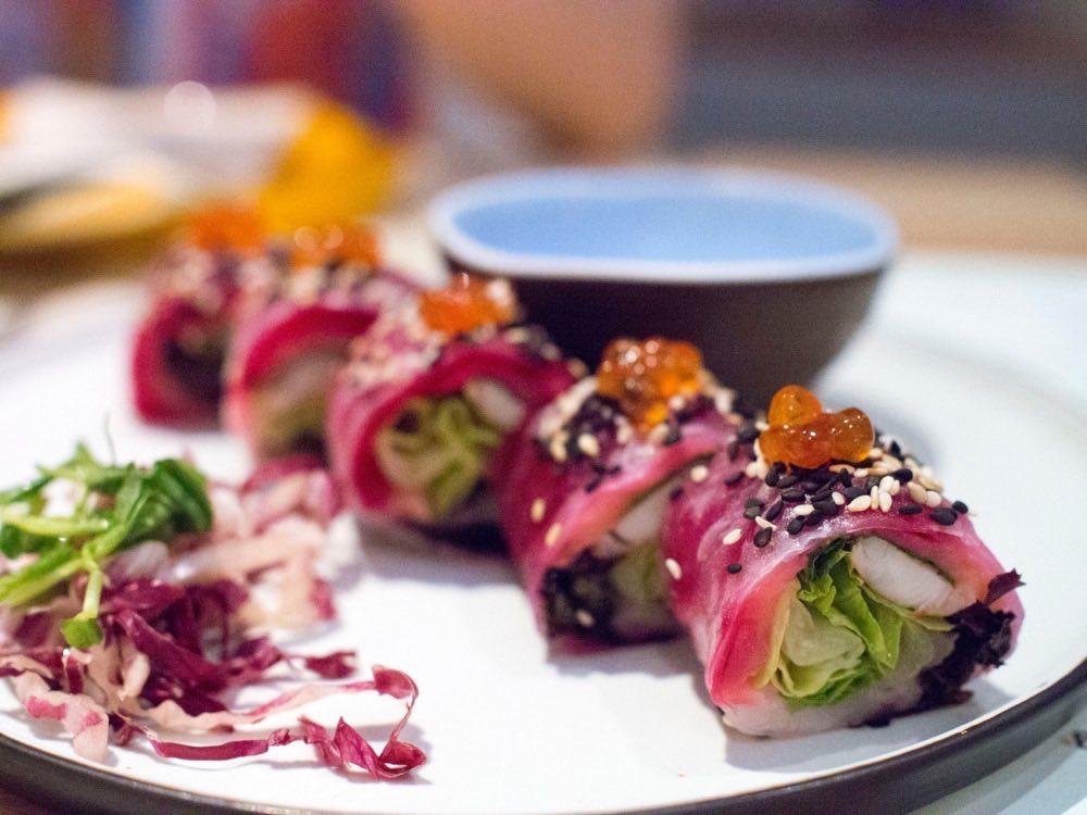 Pink Rice Paper Roll, Smoked Salmon, Prawn, White Balsamic
