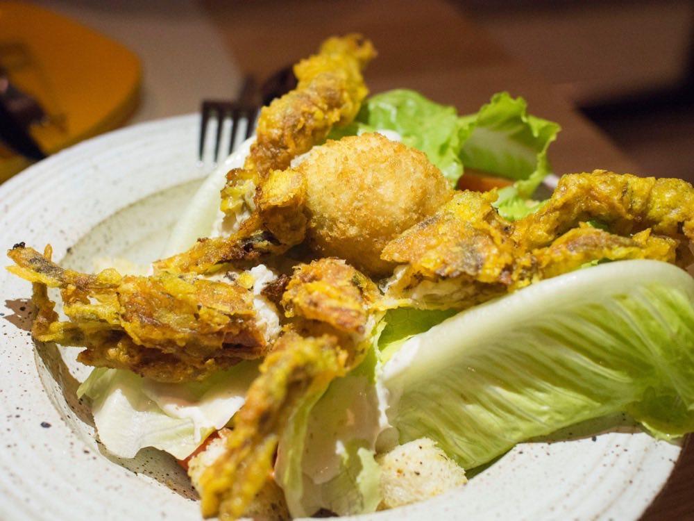 Caesar Salad with Jumbo soft-shell crab