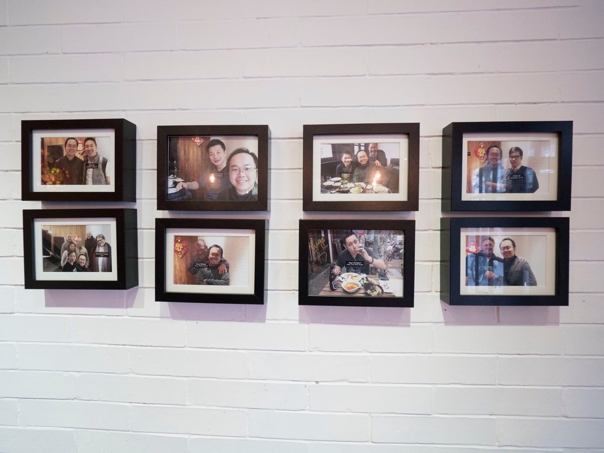 Wall of Fame featuring John Liu (Coquille, Scarpetta), Eduardo Vargas (Azul, and many restaurants), Anthony Zhao (Holy Cow Hotpot), David Bassan (Bocca and many more), Oyama San (Sushi Oyama), Hugo Rodriguez (Chala, and many more), Xiao Xiong (Lady Bund), Ken Walker (Bubbas BBQ)