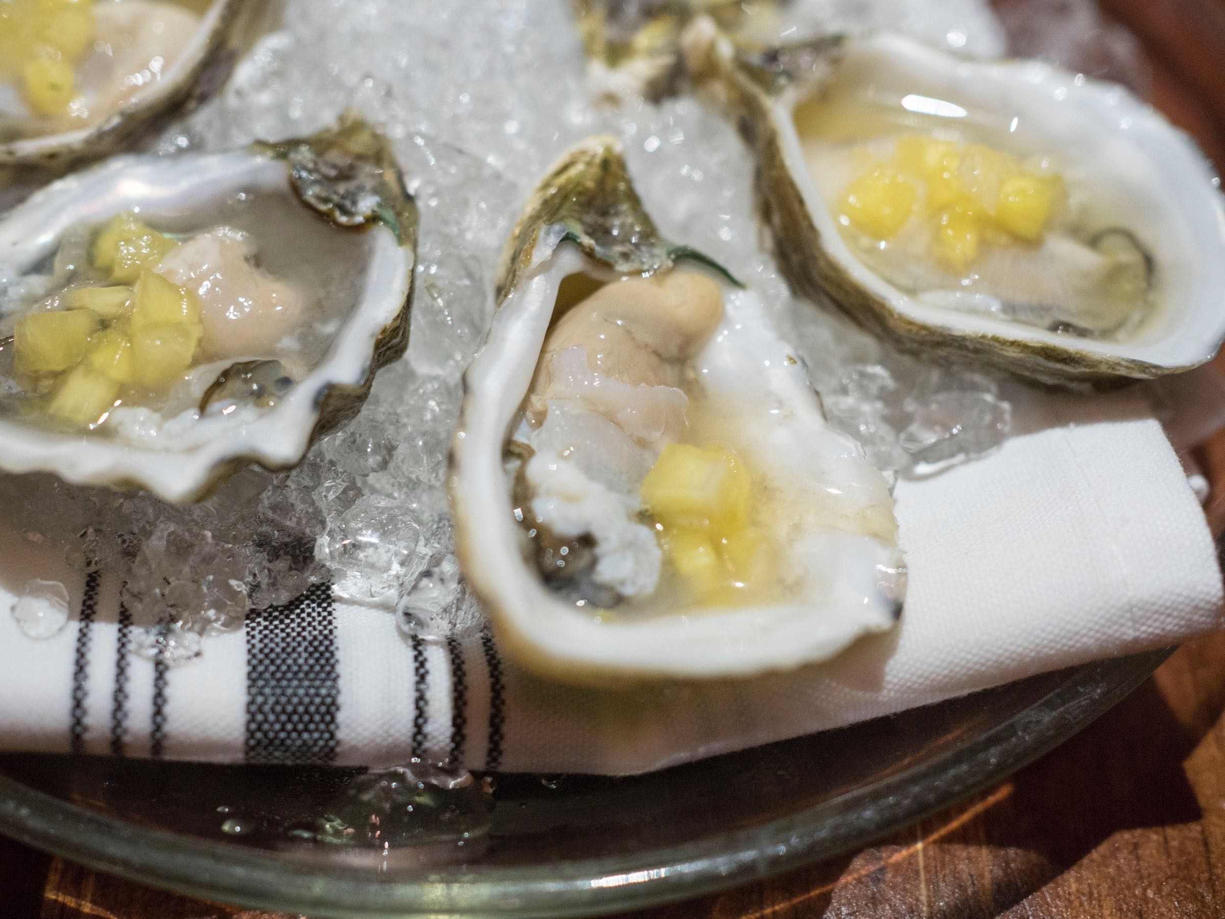 Shigoku Oysters with Pickled Pineapple